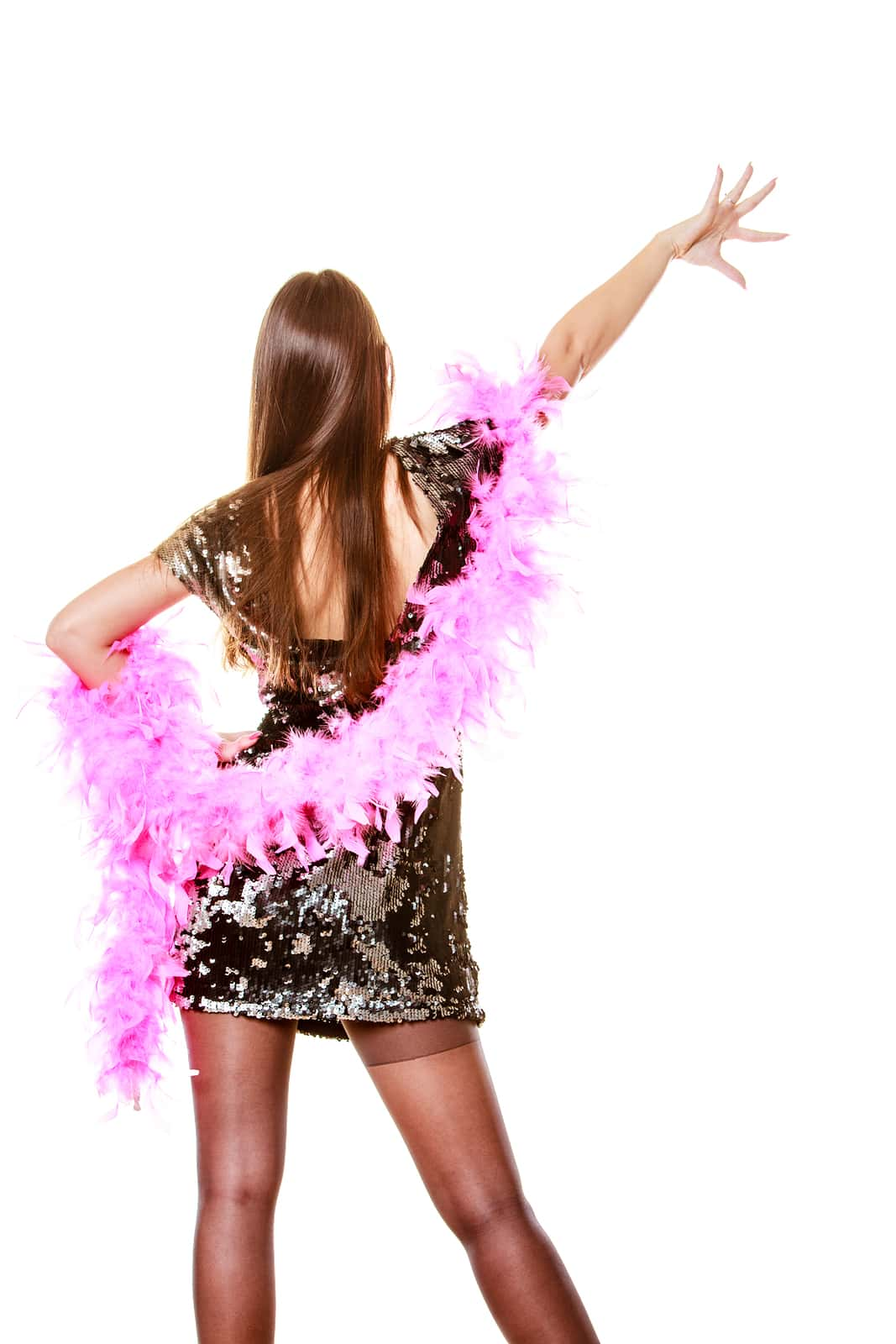 Sexy Outfit with Pink Boa
